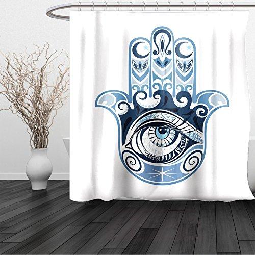 Lulu Sheer Panel (HAIXIA Shower Curtain Evil Eye Cultural Good Luck Amulet Hand Drawn Artsy Magical Superstitious Sacred Queen Full Dark Blue Light Blue)