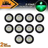 "Meerkatt (Pack of 10) 3/4"" Inch Clear Green LED Bullet Penny Truck Trailer Lights Clearance Lamp Boat SUV ATV Bike Trailer Marine Round Side Marker Lights Pickup Extra Bright 12 V DC"
