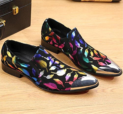 Métal Couleur Cuir Night En Dress Taille Chaussures à 45 38 Partie Hommes Nubuck Impression Plume Toe Club Barber ngp4Px8x