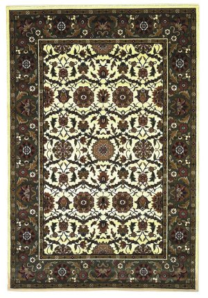 Kas Rugs 7307 Cambridge Floral Agra Area Rug, 2-Feet 3-Inch by 3-Feet 3-Inch, Ivory/Green