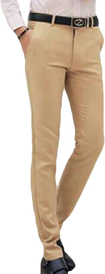 JXG Men Slim Fit Pockets Solid Colors Business Straight Leg Casual Pants Trousers