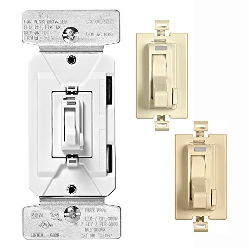 - EATON TAL06P2-C1 Al Series 300W Dimmable LED/CFL All-Load Toggle Dimmer with Color Change Kit, Almond, White, Ivory