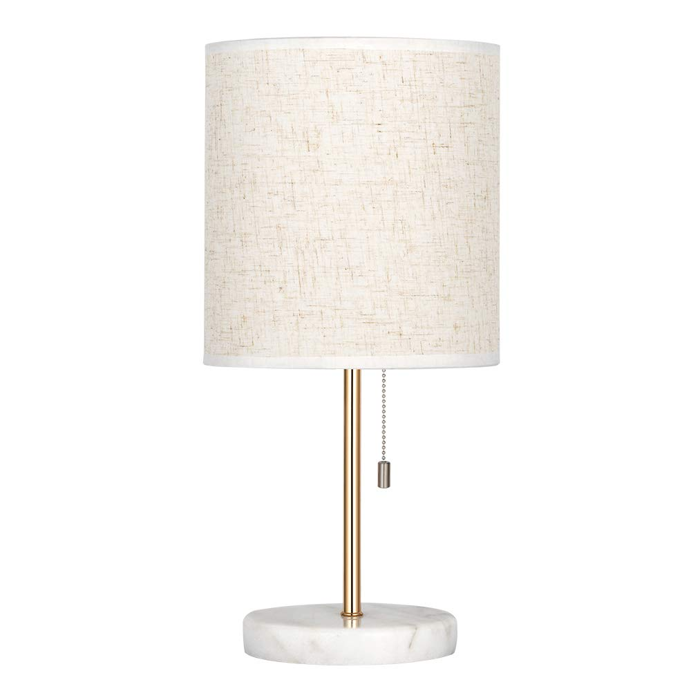 HAITRAL Bedside Table Lamp - Small Nightstand Lamp with Marble Base, Lamp for Bedroom, Office, Girls Room - Gold