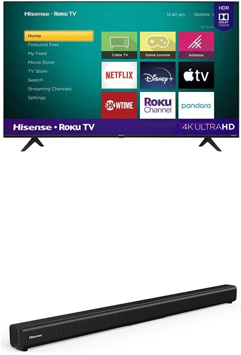 Hisense 43-Inch Class R6090G Roku 4K UHD Smart TV with Alexa Compatibility (43R6090G, 2020 Model) + Hisense 2.0 Channel Sound Bar Home Theater System with Bluetooth (Model HS205)