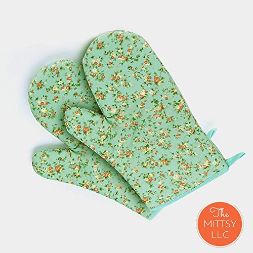 Set of Two Oven Mitts | Heat Resistant Cotton Kitchen Pot Holder [Decorative Kitchen Oven Mitt] Oven Glove | Kitchen Mitts (Petite (Flower Oven Mitt)