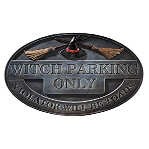 Witch Parking Sign Wall Sculpture - Witch Figure - Halloween Prop