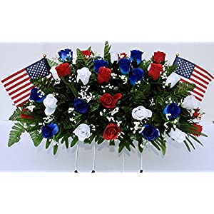 Patriotic Cemetery Headstone Flowers in Red White and Blue Roses with Flags 2