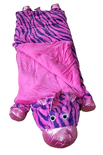 Kid's Animal Character Slumber Sleeping Bag (Pink Zebra)