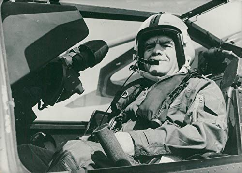 Vintage photo of Israeli Politician Yitzhak Shamir in the cockpit of a Cobra helicopter gunship ()