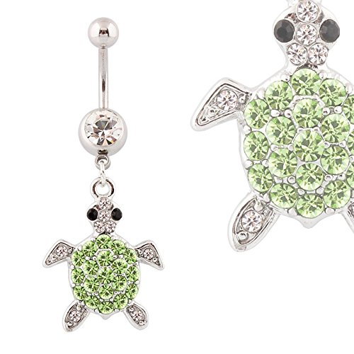 Picture Barbell (HYYIdealism 316L Surgical Steel turtle 14 Guage Stainless Steel Dangle Body Piercing Belly Barbell Navel Ring Bar)