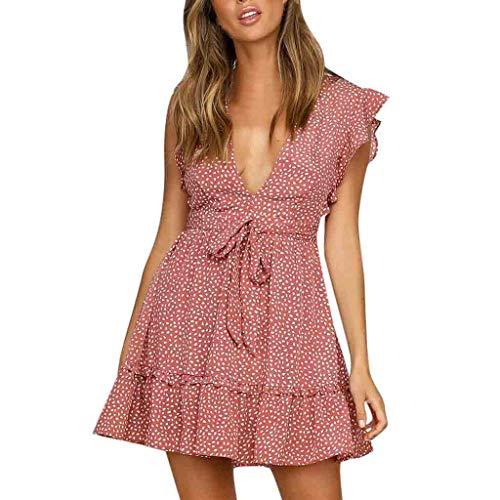 FEDULK Women Sexy Dress Sleeveless Dot Print Deep V Neck Casual Ruffled Evening Party Mini Dress(Red, Small)
