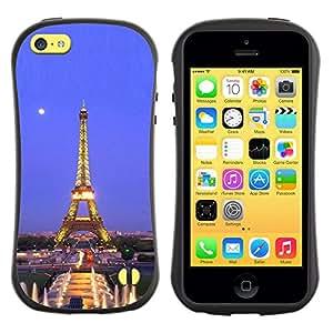 LASTONE PHONE CASE / Suave Silicona Caso Carcasa de Caucho Funda para Apple Iphone 5C / Architecture Eiffel Tower Moon Night