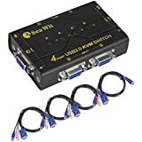 Sea Wit VGA Switch, 4 Port USB KVM Switch with USB 2.0 Hub Support Audio and Microphone output for Windows, Linux, MAC