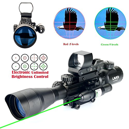 11 Reflex Sight - UUQ C4-12X50 AR15 Rifle Scope Dual Illuminated Reticle W/ GREEN(RED) Laser Sight and 4 Tactical Holographic Dot Reflex Sight (12 Month Warranty) (Green Laser W/ New Dot Sight)