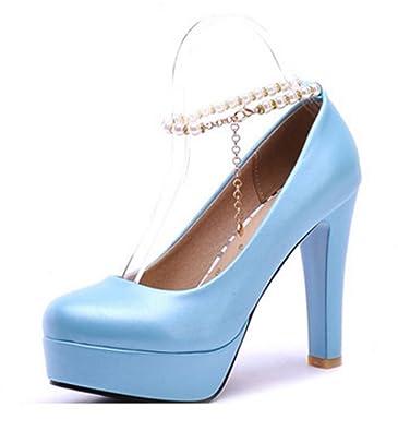 Aisun Damen Süß Künstliche Perlen Metall Knöchelriemchen Trichterabsatz Pumps Blau 35 EU 9G7KTk