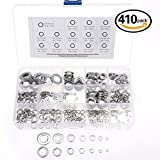 Glarks 410-Pieces M2 / 3 / 4 / 5 / 6 / 8 / 10 Stainless Steel Lock and Flat Washers Assortment Kit by Glarks