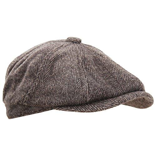 Mens 8 Panel Wool Blend Newsboy Cap (23.23in) (Brown) ac9bc4182caa