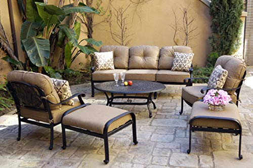 Darlee Cast Aluminum Elisabeth 6-Piece Sofa Set with Cushions and Pillows, Coffee Table, Antique Bronze