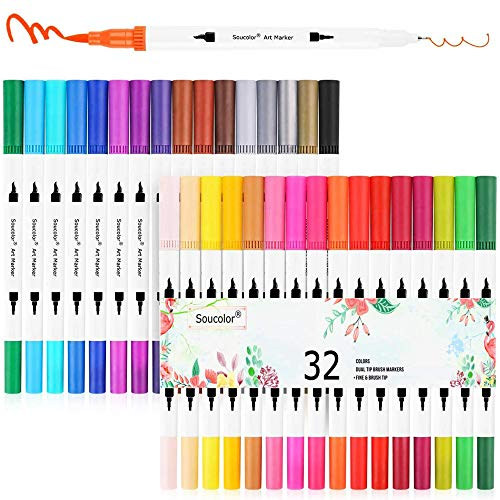 Soucolor Dual Tip Brush Markers Pens, 32 Fineliner Point and Brush Marker for Journaling Hand Lettering Adult Coloring Book Note Taking Writing Drawing Sketching Planner Art Supplies