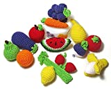 Handmade Baby Kids Soft Crochet Knit Fruit and Vegetable Toy Newborn Photography Prop (Peppers (Red, Green, Yellow - 3pc))