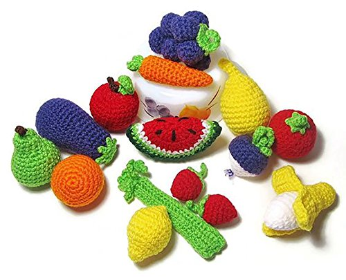 Handmade Baby Kids Soft Crochet Knit Fruit and Vegetable Toy Newborn Photography Prop (Dessert (Ice cream cones - 2pc))