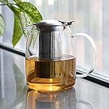 Toyo Clear Borosilicate Glass Teapot with Infuser, Stovetop Safe Tea Pot, Heat Resistant Teapots for Loose Leaf Tea, Flowering Tea (1100ml/37oz)