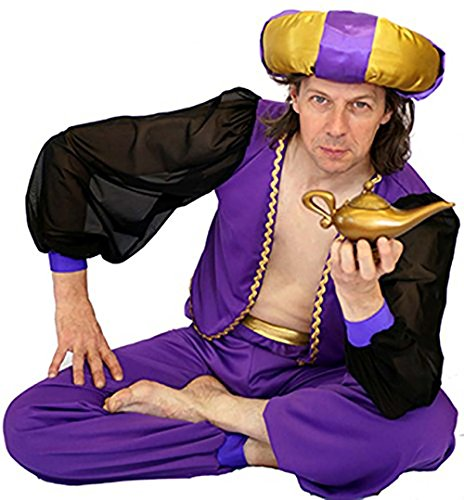 CL COSTUMES Stage-Panto Aladdin-Arabian-Genie Men's Fancy Dress Costume With Doughnut Hat - All Sizes (XXL) ()