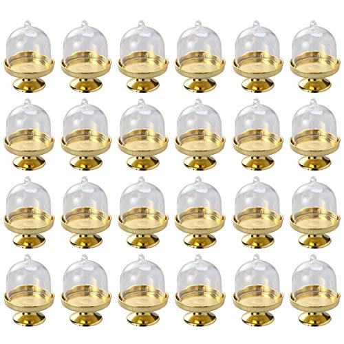 - Hemoton 24pcs Mini Candy Dish Mini Cake Stand Chocolate Cupcake Plate With Lid Party Favor Boxes for Birthday Wedding Christmas Party Supplies (Golden Base)