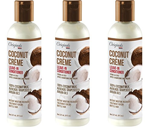 [ TRENDING PACK OF 3] AFRICA'S BEST COCONUT CREME LEAVE-IN CONDITIONER 100% COCONUT MILK, AVOCADO,GRAPESEED & ARGAN OIL 8 OUNCE EA