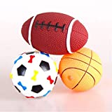 Stock Show 3Pcs Pet Dog Balls Toys Latex Rubber Squeak Ball Fetch Throw Playtoys for Small Dogs Cats - Football + Basketball + Rugby