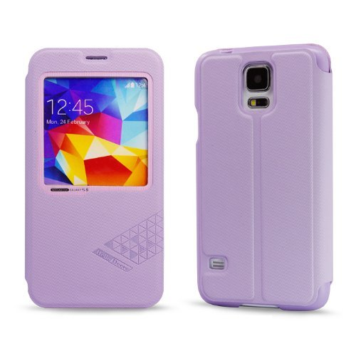Moon Monkey Linen Finish Style Folio Intelligent Window Cover Case for Samsung Galaxy S5 (Violet)