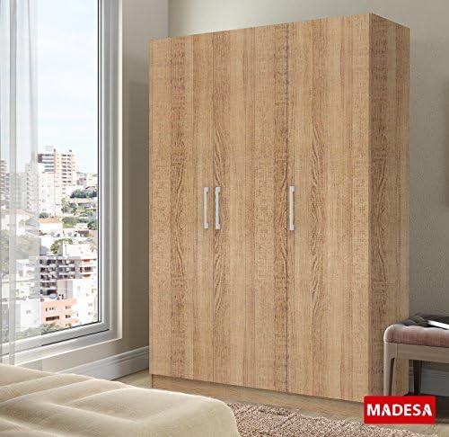 Madesa Armario de 3 puertas con 5 estantes para dormitorio, gran espacio de almacenamiento, 1 metro de ancho: Amazon.es: Hogar