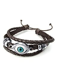 TEMEGO Jewelry Mens Leather Braided Alloy Bracelet, Vintage Gothic Evil Eye Beads Charm Cuff Bracelet, Adjustable 6-8.5 Inch, Brown Silver
