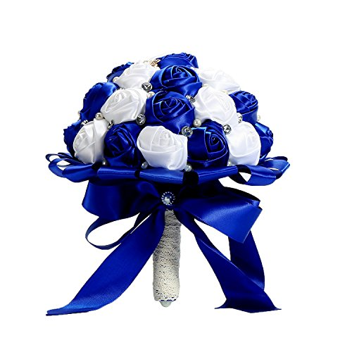PYJTRL Multicolor Crystal Pearl Wedding Bridal Bridesmaid Ribbon Bouquets (Blue + white 03) - Flowers White Crystal