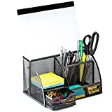Halter Steel Mesh Desk Organizer Supply Caddy with 6 Compartments And 1 Drawer - Black