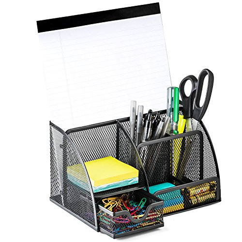 Halter Steel Mesh Desk Organizer Supply Caddy with 6 Compartments And 1 Drawer - Black (Drawer Steel Unit)