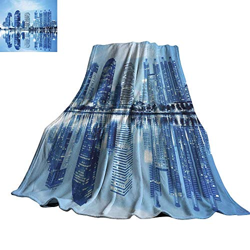 (Blue Decorative Throw Blanket Night Scene of City Buildings Architecture Twilight Water Reflection Metropolitan 36