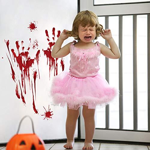 Oun Nana 6 PCS Bloody Sticker for Halloween Footprints Stickers Hand Clings Decals Splatter Wall Décor
