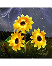 Outdoor Solar Garden Stake Lights,Upgraded LED Solar Powered Light with 3 Sunflower, Waterproof Solar Decorative Lights for Garden, Patio, Backyard (1 Pack)