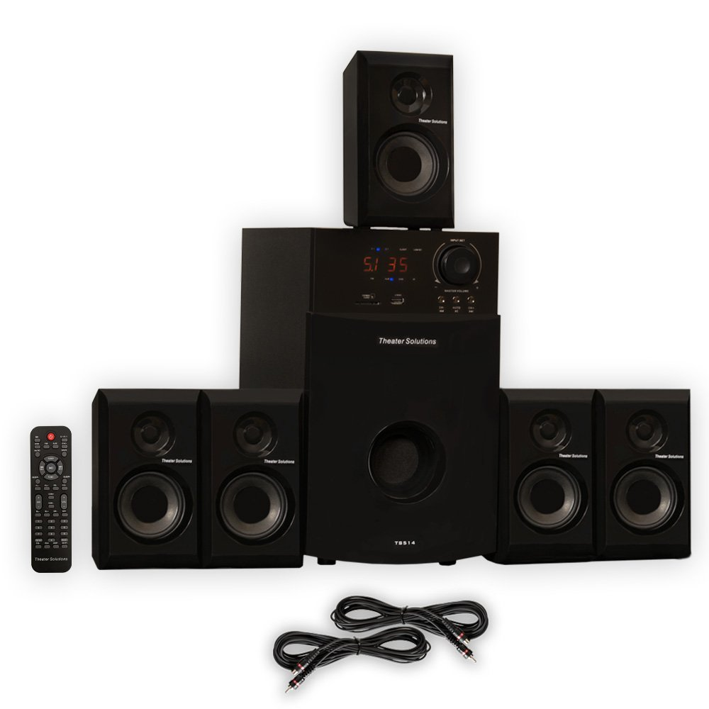 home theater for sale. amazon.com: theater solutions ts514 home 5.1 speaker system with usb fm tuner and 2 extension cables: audio \u0026 for sale y