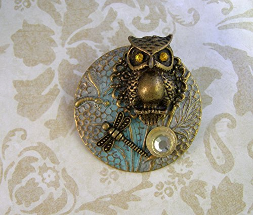 Handmade Victorian Style OWL Brooch-One of a Kind-Antique Brass-Naturalist -