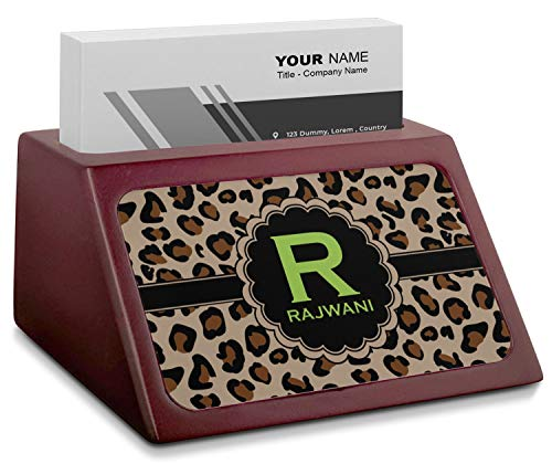 (Granite Leopard Red Mahogany Business Card Holder (Personalized))