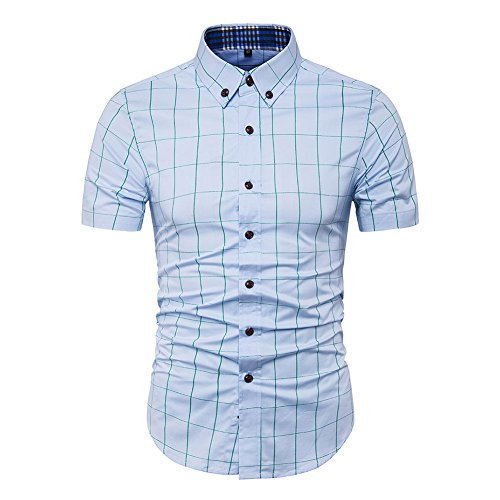 (MUSE FATH Collared Short Sleeve Shirts for Men-Cotton Plaid Shirt-Light Blue-L)