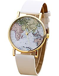 Unisex World Map Quartz Watches Men Women Fashion Trends Watch Boy Girl Students Simple Leisure Brown