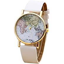 Unisex World Map Quartz Watches Men Women Fashion Trends Watch Boy Girl Students Simple Leisure Brown PU Leather Wrist Watch (white)
