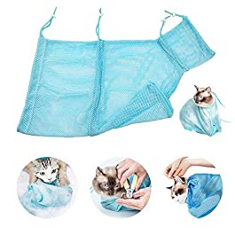 Faith Force Cat Grooming Bag Bathing Shower Mesh Bag Adjustable Multifunctional Breathable Polyester Anti-Bite Anti-Scratch Cat Restraint Bag for Nail Trim/Examining/Ear Clean