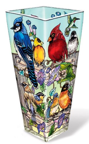 Amia 41056 Hand Painted Glass Vase, Multiple Birds on Rail Design, 10-Inch High - Bird Hand Painted Vases