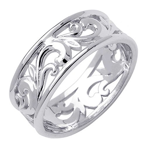 - 18K White Gold Floral Paisley Women's Comfort Fit Wedding Band (8.5mm) Size-6.5c1