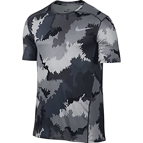 81601eec Amazon.com : Nike Mens Pro Hypercool Printed Compression T-Shirt (Stealth/ Black/Black, Medium) : Sports & Outdoors