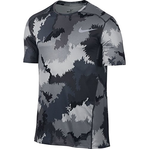 Nike Mens Pro Hypercool Printed Compression T-Shirt (Stealth/Black/Black, Large)